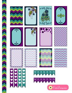 Free Printable Happy Planner Stickers in Teal and Purple Colors:
