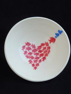 Fish Love Ceramic Bowl 5 inch by 3GirlsandaKiln on Etsy, $20.00
