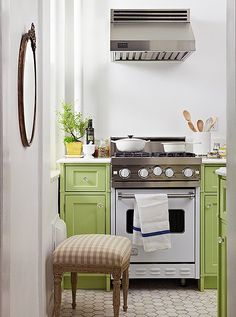 Change to masculine colors for a first home for AWW - Step Inside the Perfect Petite Kitchen -- One Kings Lane