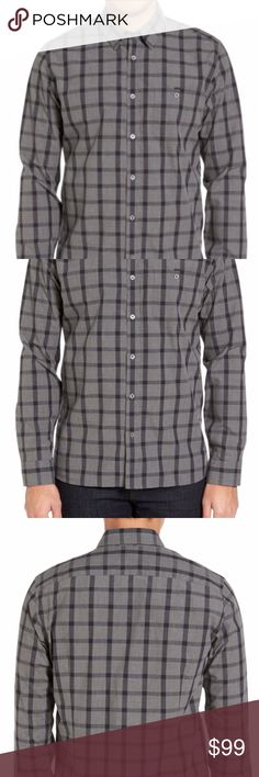 Ted Baker London Large Black & Gray Slim Fit Shirt Handsome checks pattern a classic sport shirt woven from rich indigo-dyed cotton that flashes some style with contrast prints accenting the inner collar and cuffs.  - Raised placket - Concealed button-down collar - Long sleeves with rounded, single-button cuffs - Back yoke - Curved hem  Size: Large (4). Please refer to pictures for the measurements.   Fabric: 100% cotton.  Care: Machine washable.   Smoke free home. Ted Baker London Shirts…