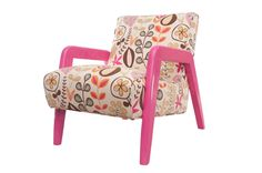 "An Atomic chair dressed in a ""Mod"" floral design, and painted in a bright berry-pink lacquer. The upholstery has been painstakingly matched, flower to flower. Extra padding has been added for comfort."