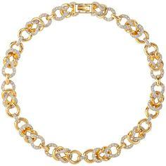 Susan Caplan Vintage 1980s Nina Ricci Gold Plated Swarovski Crystal Link Necklace (€475) found on Polyvore