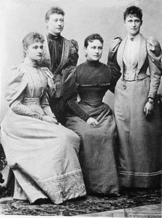 Tsarina Alexandra Feodorovna of Russia, Princess Victoria, Marchioness of Milford Haven, Grand Duchess Elisaveta of Russia and Princess Irene of Prussia, nee Princesses of Hesse.