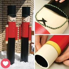 """An ingenious way to design nutcrackers with """"sonotubes"""" in stages. noel handmade in wood In stages: making Ca . Christmas Yard Art, Nutcracker Christmas, Outdoor Christmas Decorations, Christmas Holidays, Christmas Crafts, Christmas Ornaments, Nutcracker Crafts, Christmas Knomes, Christmas Wonderland"""