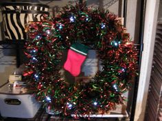 Christmas Wreath with twinkle white lights.