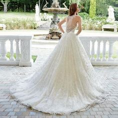 Alice Beautiful White A-line Lace Sheer V-Neckline Organza Wedding Dress