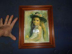 Ancien Cadre Tableau Reproduction genre Emaux Vicente Roso Fillette chapeau