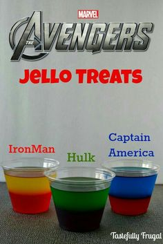 The Avengers Moves & Jello Treat: Learn to play like Hulk, Iron Man and Captain America and a delicious treat that can also be friend Superhero First Birthday, Hulk Birthday, Birthday Games, 3rd Birthday Parties, Boy Birthday, Iron Man Birthday, Super Hero Birthday, Superhero Party Food, Superhero Treats