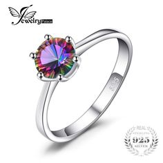 Natural Mystic Fire Rainbow Topaz Ring Engagement Wedding Ring Solid 925 Sterling Jewelry Fine Jewelry Women Ring www. Quartz Engagement Ring, Engagement Rings, Rainbow Topaz, Fire Rainbow, Fine Jewelry, Women Jewelry, Mystic Topaz, Topaz Ring, Beautiful Rings