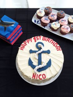 Nautical themed first birthday sweet treats by @gnotes