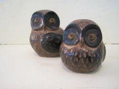 Antique owl figurines | Vintage Owl Figurines cute retro bird endangered species woodland ...