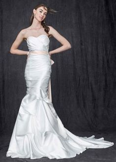 This shapely charmeuse trumpet gown blends intricate details with show-stopping style for a look that is absolutely captivating. Ruched sweetheart bodice is ultra feminine and flattering. Wedding Dressses, Used Wedding Dresses, Bridal Dresses, Wedding Gowns, Wedding Outfits, Davids Bridal Sale, Davids Bridal Gowns, Corsage, Wedding Dress Sample Sale