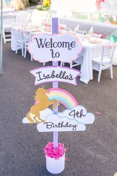 party ideen Gloriousness abounds in this Magical Unicorn Birthday Party at Kara's Party Ideas. Don't miss the photos and details right here! Unicorn Themed Birthday Party, Unicorn Birthday Parties, First Birthday Parties, Birthday Party Themes, First Birthdays, 4th Birthday, Birthday Signs, Birthday Celebration, 5th Birthday Party Ideas