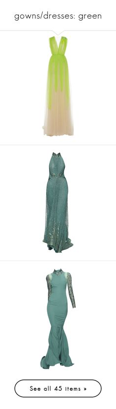 """""""gowns/dresses: green"""" by helena-handbasket ❤ liked on Polyvore featuring dresses, gowns, green, ruched dress, ruched gown, green evening dress, green dress, tulle ball gown, long dresses and green evening gown"""