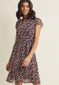 Oh Say Can Museum Floral Dress in Navy Bloom | ModCloth