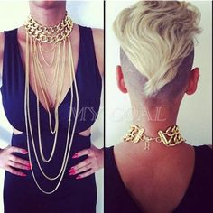 Shiny Cut Gold Plated Chains Necklace Choker Chunky Body Chain Punk Boho Gothic