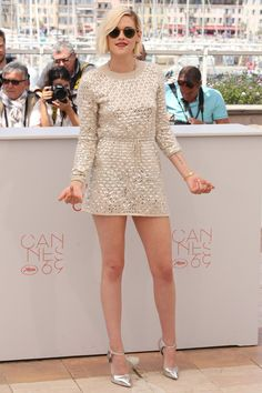 She wore a Chanel dress with Giuseppe Zanotti heels to the [i]Personal Shopper[/i] during the Cannes Film Festival.