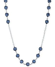 2028 Silver-Tone Blue Crystal Long Length Necklace