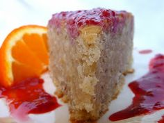 The Daily Dietribe: Lemon Cake with Raspberry Syrup (Gluten-Free, Vegan, Sugar-Free) and a Honeyville Almond Flour Review