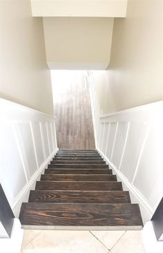 It Yourself: Beautiful Staircase Board and Batten Do It Yourself: How to update and transform a basic basement staircase with board and batten.Do It Yourself: How to update and transform a basic basement staircase with board and batten. Basement Remodel Diy, Basement Makeover, Basement Renovations, Home Remodeling, Refinished Basement Ideas, Stair Renovation, Remodeling Costs, Staircase Makeover, Bathroom Remodeling