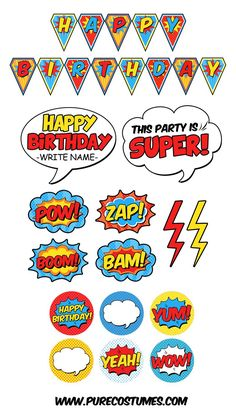 Free Superhero Pary Printables - Batman Party - Ideas of Batman Party - Have a spectacular superhero party with these free superhero party printables! Just print cut and decorate for a budget-friendly celebration. Superman Birthday Party, Avengers Birthday, Batman Party, 6th Birthday Parties, Boy Birthday, Super Hero Birthday, Superhero Party Food, Birthday Ideas, Birthday Celebration