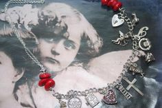 Heart jewelry, Silver, cherub charm necklace, Cherub jewelry, vintage charms, Valentines gift, various charm, Padlock charm, Cupid, ooak Heart Jewelry, Statement Jewelry, Silver Jewelry, Valentines Jewelry, Valentine Gifts, Celtic, Steampunk, Gothic, Red Accessories