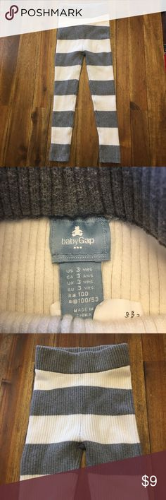 Baby Gap leggings Baby gap knit leggings in grey and cream. These are a thick, sweater-like fabric. EUC!! Size says 3 years but I feel they fit more like a 2t. Baby Gap Bottoms Leggings