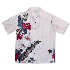 Always made in Hawaii at Lavahut! Sweetheart Cream Hawaiian Rayon Shirt  #madeinhawaii #islandstyle #alohashirt #hawaiianshirts #lavahut #modernhawaiianshirts #hawaiianvibes #hawaiianclothing #hawaiian