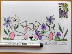 Great idea for the envelope that belongs to the Easter card you'll be dropping in the mailbox. Envelope Lettering, Calligraphy Envelope, Envelope Art, Envelope Design, Fancy Envelopes, Mail Art Envelopes, Decorated Envelopes, Addressing Envelopes, Snail Mail Pen Pals