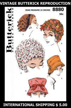 """Vintage 1950's Sexy Hot Millinery BUTTERICK 8880 Unique HATS Bucket Veil Fabric Material Sewing Pattern Chemo Cancer Reproduction / Copy 22"""""""