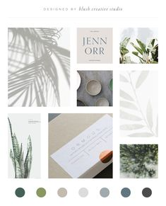 Minimal, airy, calm nature-inspired mood board & color palette with greenery & minimalist vibes Nature Color Palette, Green Colour Palette, Brand Identity Design, Branding Design, Coperate Design, Typographie Fonts, Website Color Palette, Mood And Tone, Mood Boards