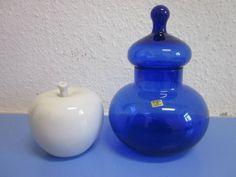 Italian art glass candy container lidded boy era Empoli Opaline 60s 70s