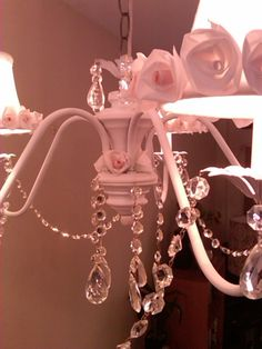 closer look Shabby Chic Chandelier...hand made roses!! CMB Designs Lamps and Shades, Trinidad