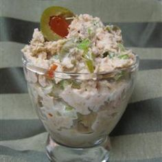 Gourmet Tuna Salad Recipe - I'm not much of a fish eating person, but I really liked this tuna salad. I ate it in a big home grown tomato!
