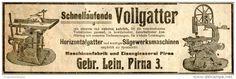 Original-Werbung/ Anzeige 1912 : SCHNELLAUFENDE VOLLGATTER / GEBR. LEIN - PIRNA  - ca. 200 x 60 mm
