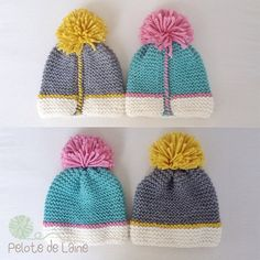 Colors and seaming Baby Hats Knitting, Knitting For Kids, Loom Knitting, Knitted Hats, Diy Crafts Knitting, Diy Crafts Crochet, Knitting Patterns, Crochet Patterns, Crochet Cap