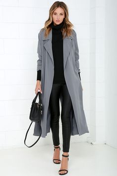 Night Drive Grey Trench Coat at Lulus.com!  Love this whole outfit