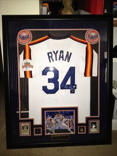 Autographed Nolan Ryan Jersey Framed - I designed it, CSD Sports Framing in Dallas took care of the actual matte/frame work...