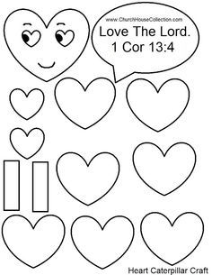 Heart Caterpillar Valentineu0027s Day Craft For Sunday School Kids Love The  Lord 1 Cor 13: