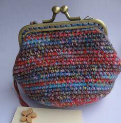 Handmade vintage style multicolor crochet coin purse by SKmade