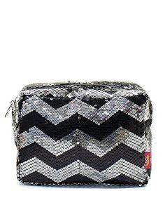 "Sequin Chevron Stripe 8"" Cosmetic Pouch Toiletry Travel Bag (Black) NGIL http://www.amazon.com/dp/B0187L3VAO/ref=cm_sw_r_pi_dp_0oaaxb0KJJEZQ"