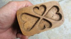 3.375in long x 2.25in high x 1.625in (w/handle) 19th C hand carved 4 hearts butter print Sold $170.40 Ebay June 18, 2015