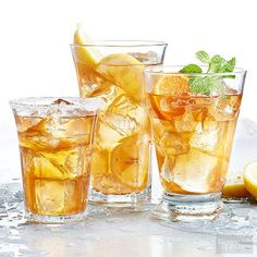 Beat the heat with these cool summer drinks. With refreshing summer cocktails and mocktails as well as creative twists on classic lemonade and blended margaritas, we've chosen a collection of refreshing summer drinks for you to sip all season long. Sweet Tea Recipes, Iced Tea Recipes, Summer Drink Recipes, Non Alcoholic Drinks, Fun Drinks, Yummy Drinks, Food Network Recipes, Cooking Recipes, Easy Recipes