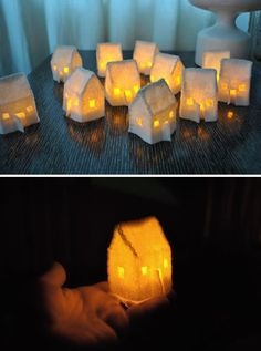 Claire of Poopscape shares how to make these fun felt houses into which you can place battery-operated tea lights to create a glowing group for your tables Diy Christmas Village, Christmas Villages, Felt Christmas, Christmas Crafts, Christmas Houses, Christmas Trees, Diy Craft Projects, Crafts For Kids, Diy Crafts