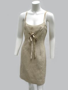 1990s Valentino Raw Silk Linen Dress