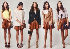 ways to style a brown leather skirt! Fashion Moda, Cute Fashion, Fashion Looks, Womens Fashion, Fashion Tips, Brown Leather Skirt, Leather Skirts, Suede Skirt, Brown Suede