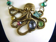 Octopus and Butterfly Pendant Necklace, offered by Pink Chapeau at The Craftstar