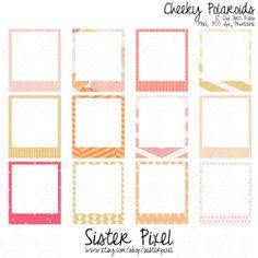 Pink, yellow & orange polaroid frames clip art. So fun!