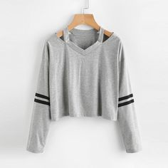 Cut Out Neck Striped Sleeve Tee Shirt Ladies Grey V Neck Sleeve Pullovers Women Casual T Shirt Teen Fashion Outfits, Casual Outfits, Cute Outfits, Fashion Women, Fashion Black, Fashion Styles, Fashion Fashion, Fashion Ideas, Vintage Fashion