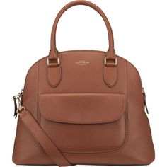 Smythson Connaught Bugatti calf leather bag (€1.190) ❤ liked on Polyvore featuring bags, handbags, zip bag, brown bag, calfskin purse, calf leather handbags and smythson handbags